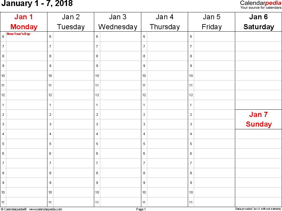 Printable Weekly Calendar 2018 | Printable Calendar Templates