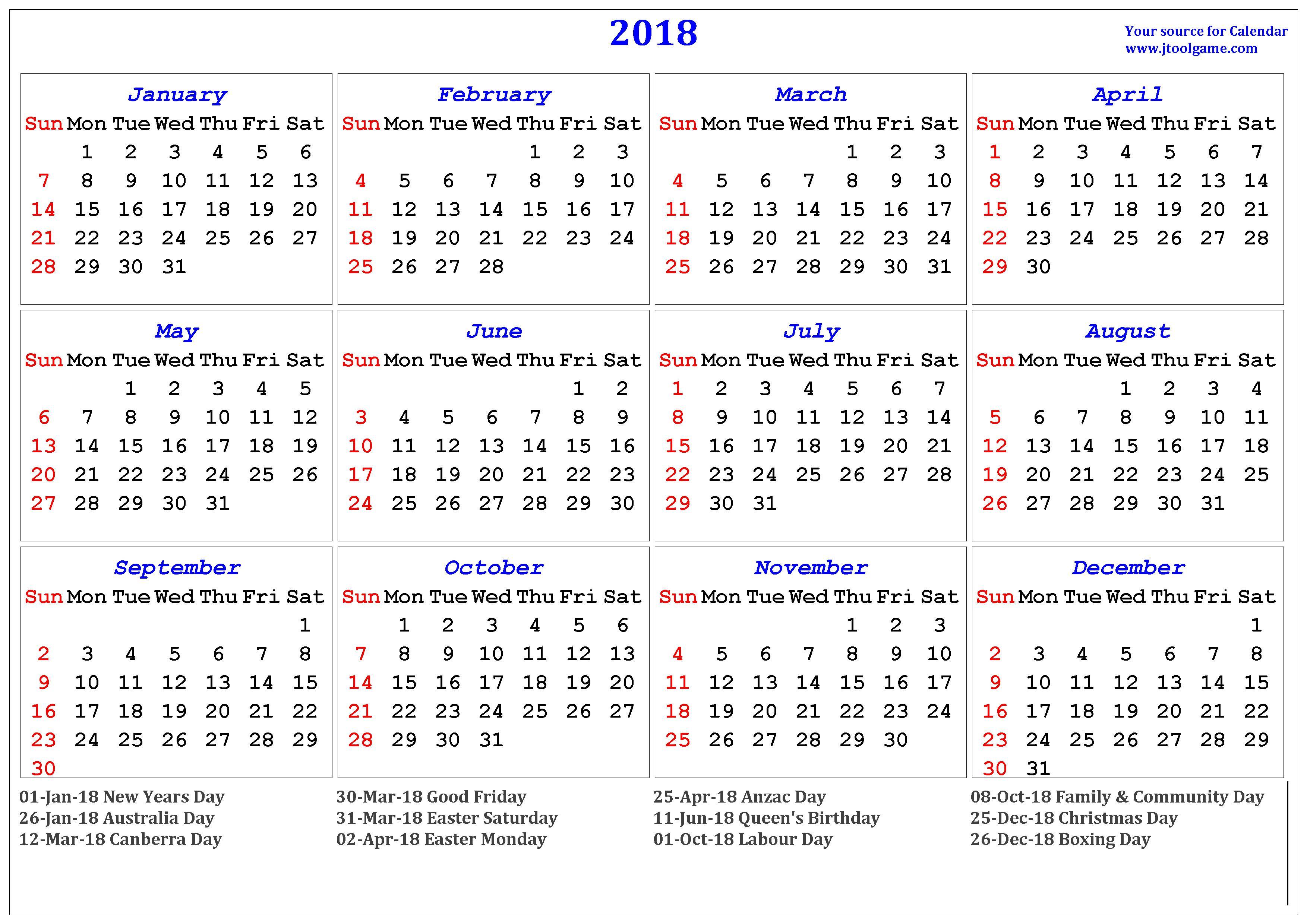 2018 Calendar printable Calendar. 2018 Calendar in multiple