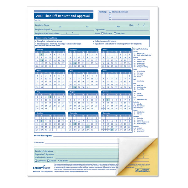 Employee Paid Time Off Request and Approval Form 2 Part