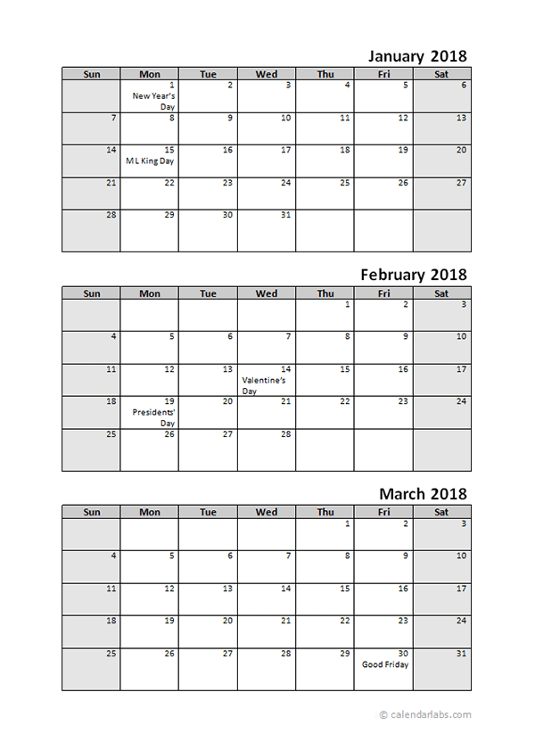 3 Month Calendar 2018
