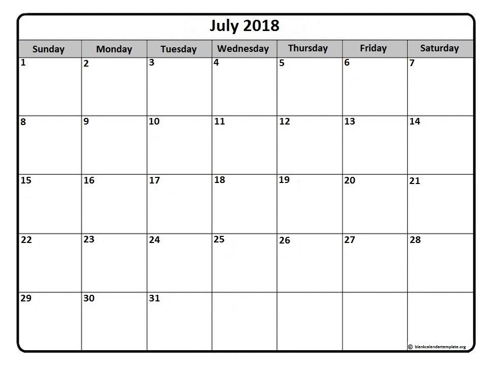 July 2018 calendar * 50+ templates of printable calendars