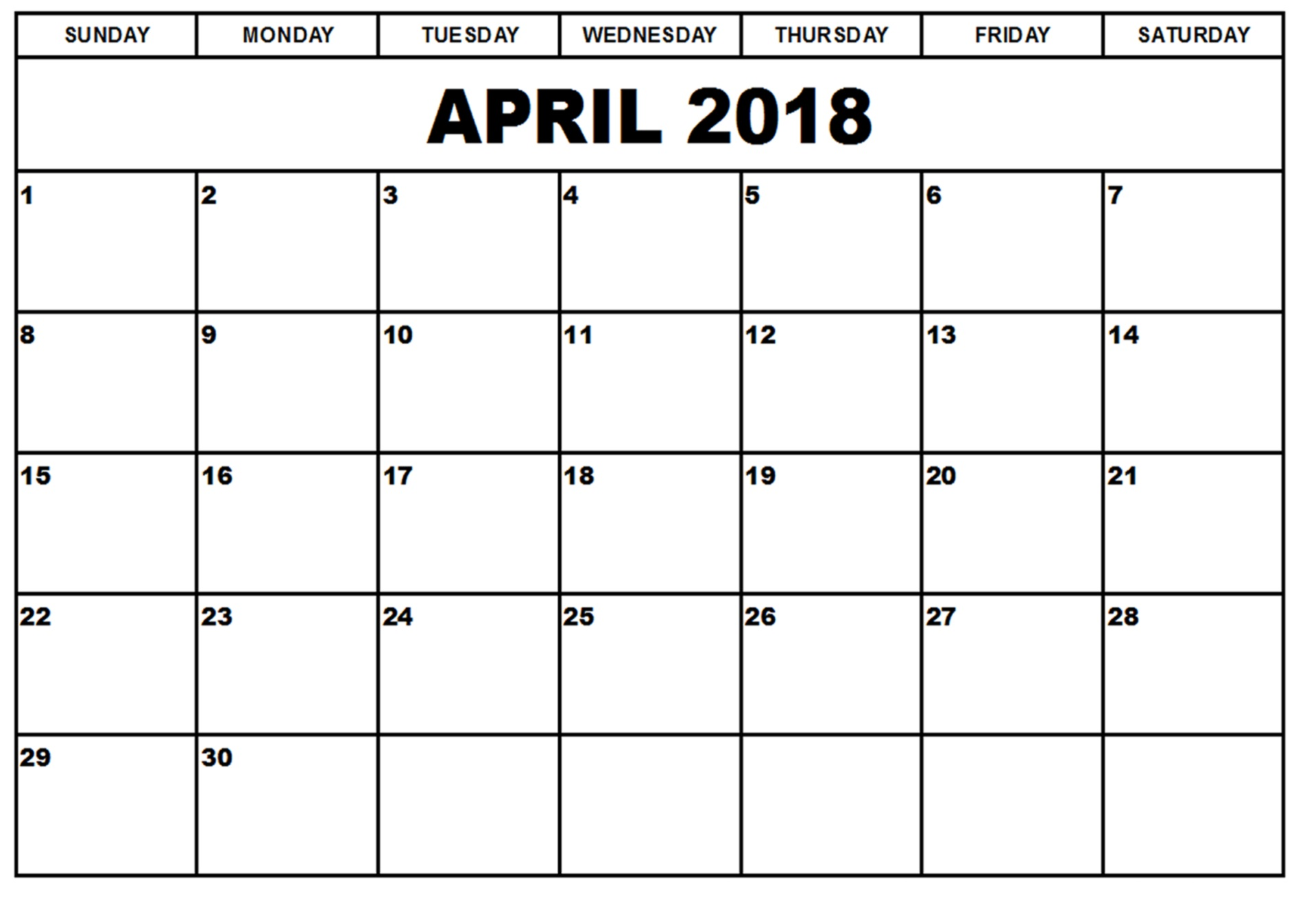 April 2018 Calendar Printable Templates | This site provides
