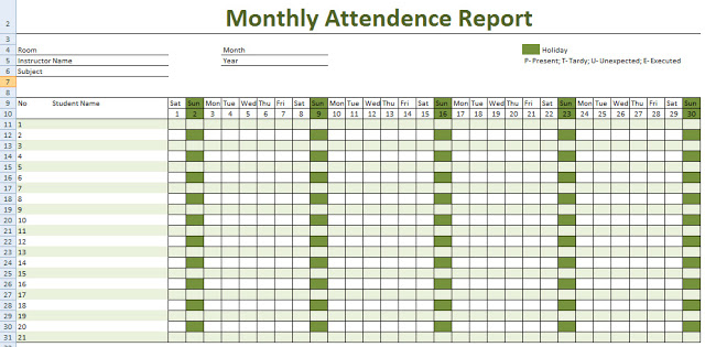 Calendar For Attendance Tracking | Calendar Template 2018
