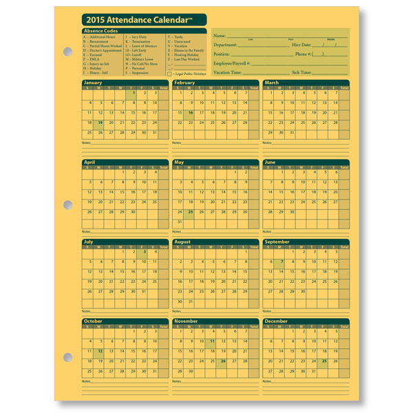 Image for Free 2015 Employee Attendance Calendar | work related