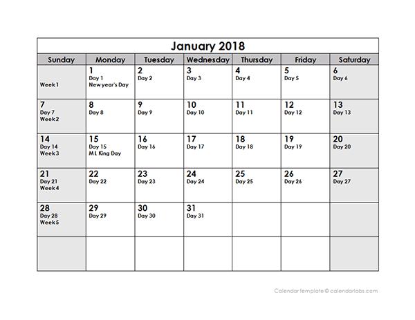2018 Julian Day Calendar Free Printable Templates