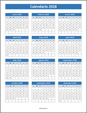 Calendario Vertex 2018 Para Imprimir Calendar 2018