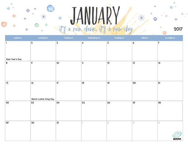 Easy Printable Monthly Calendar Cute Mom 2018 | Calendar Template 2018