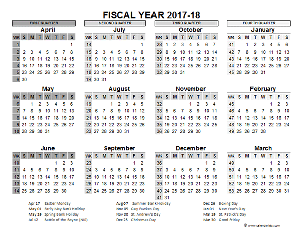 2017 2018 Fiscal Calendar UK Template Free Printable Templates
