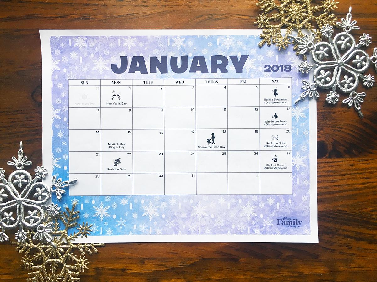 Disney January 2018 Calendar | Disney Family