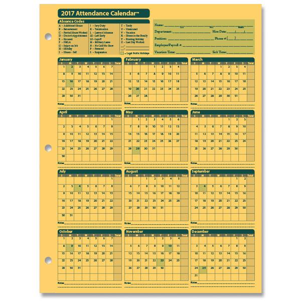 Printable 2017 Employee Attendance Calendar | janice calendar