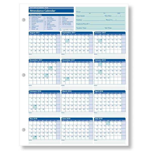 Employee Attendance Calendar 2017 | Attendance tracker | Free