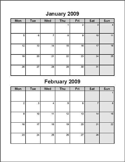 bi weekly calendar template