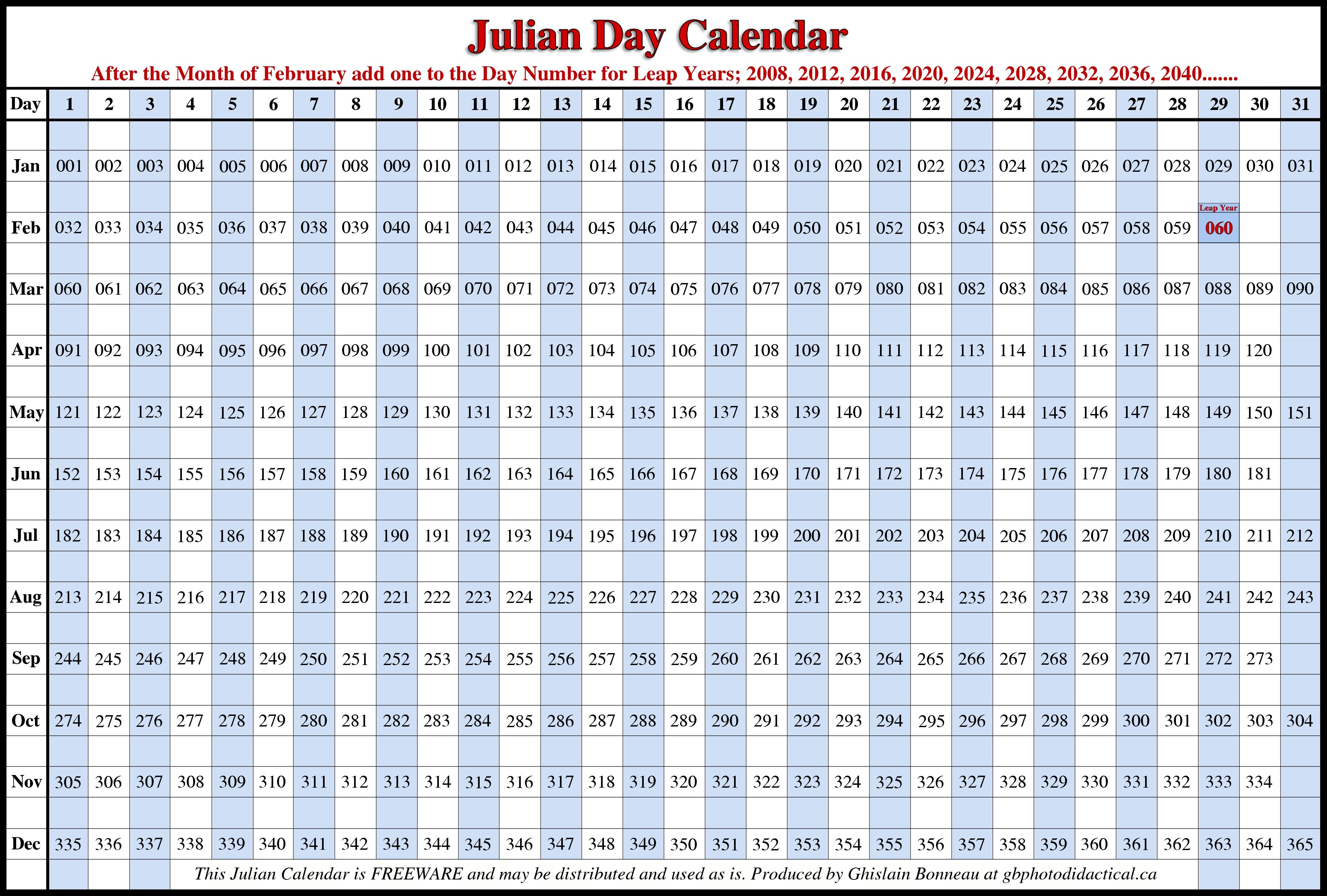 Leap Year Julian Calendar Printable   Printable Calendar Template 2016