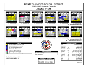 Manteca Unified School District Calendar 2018 | Calendar Template 2017