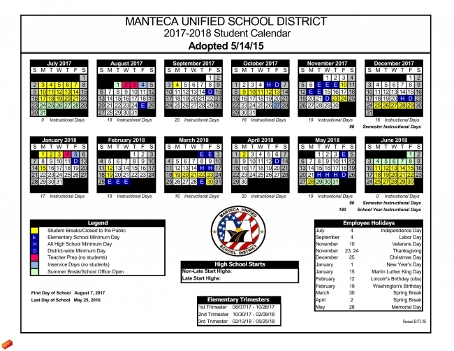 Manteca Unified Calendar 2015 2016 | Calendar Template 2018