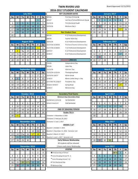 Calendars | Manteca Unified School District, CA