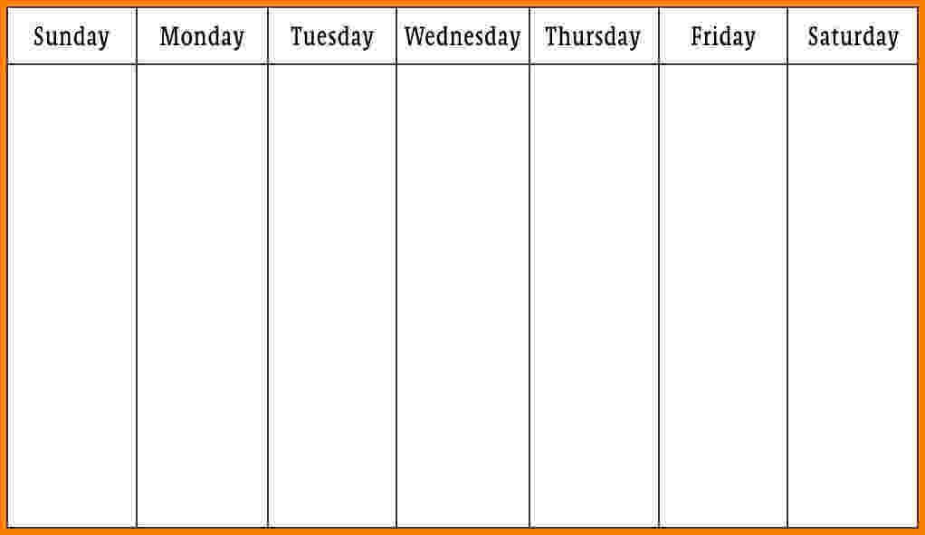 monday through sunday schedule template