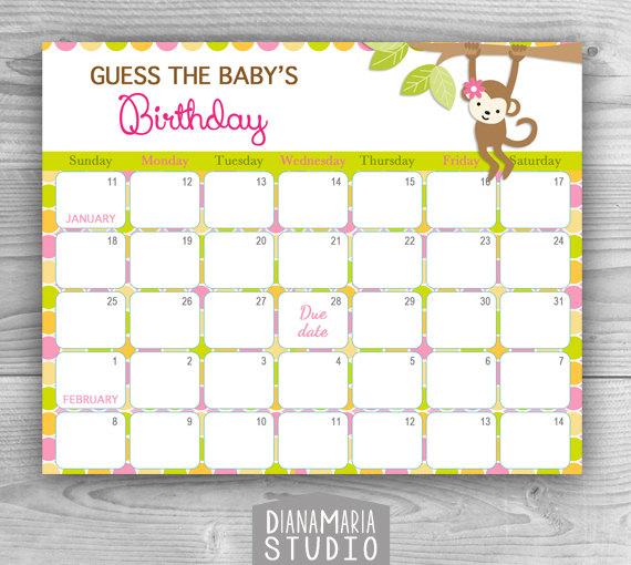 Monkey Baby Due Date Calendar | Calendar Template 2018