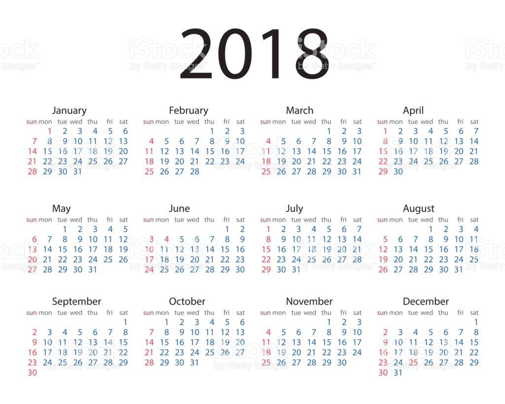 Estilo Simple Del Año Calendario 2018 La Semana Comienza En El