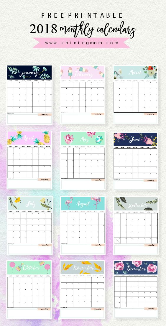 Calendar 2018 Printable: 12 Free Monthly Designs To Love