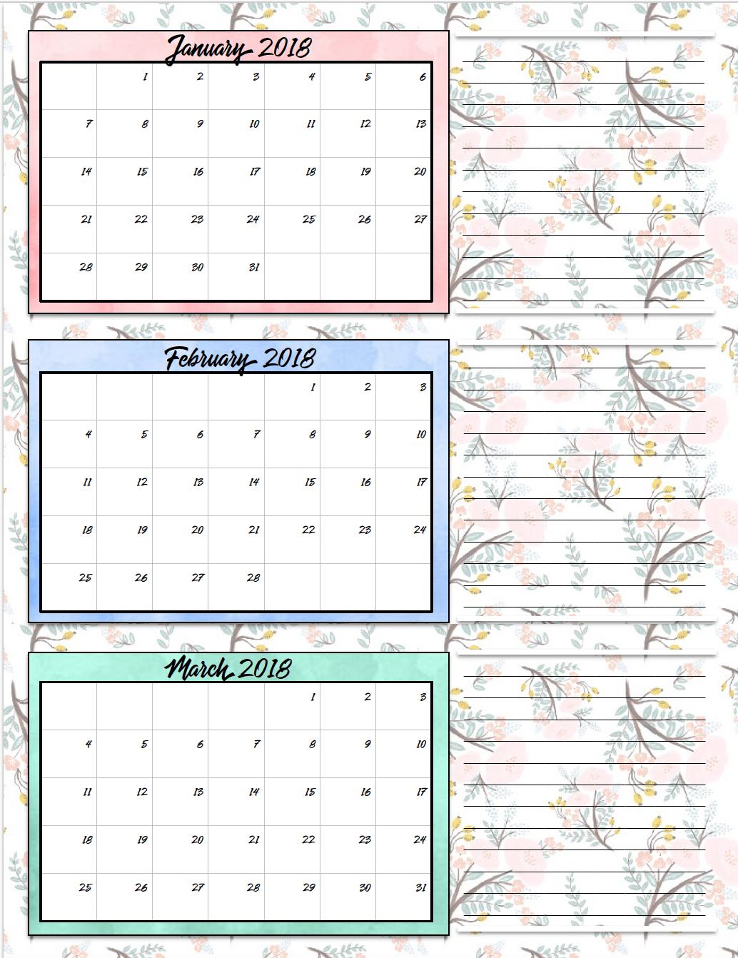 quarterly calendar template 2018