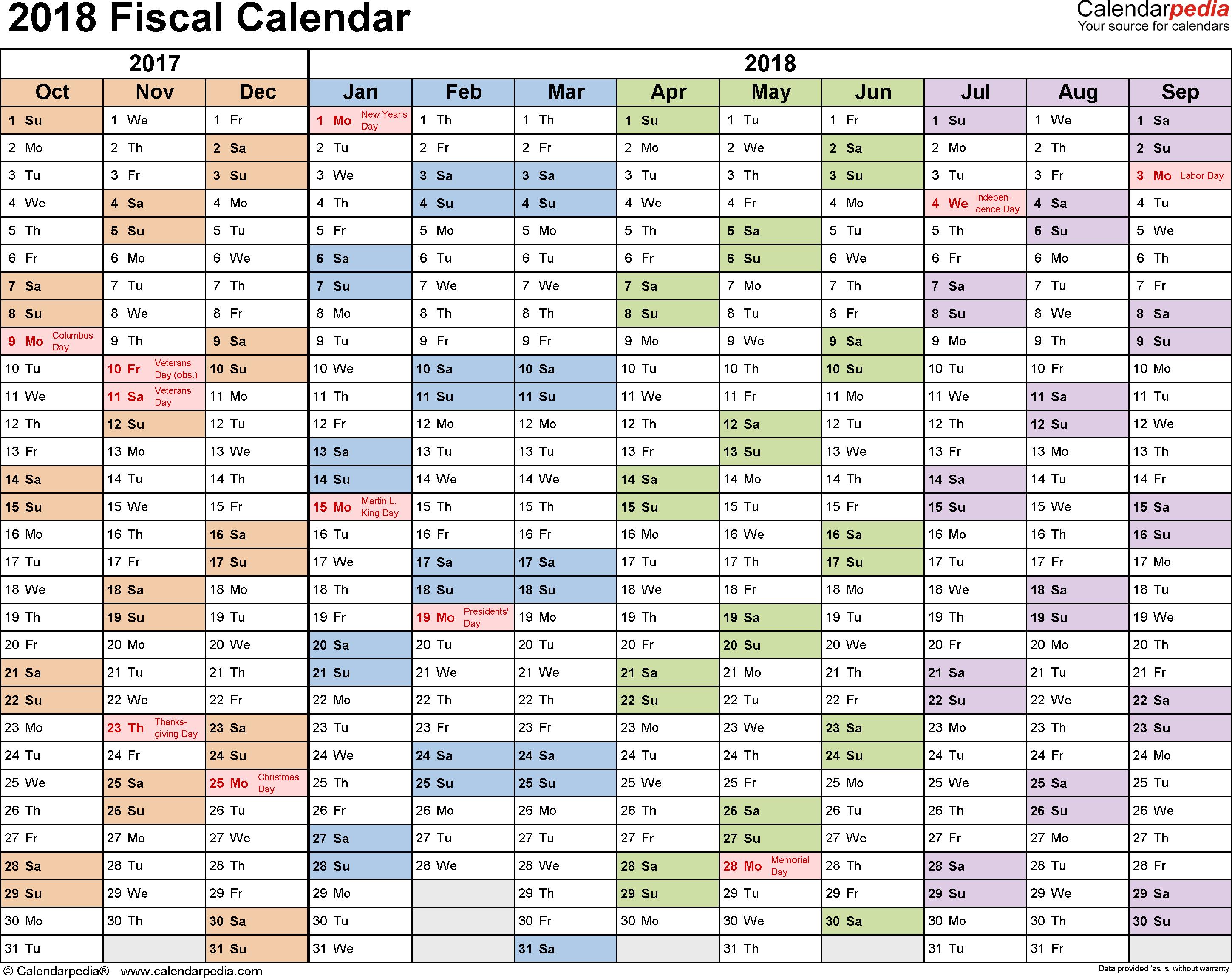 2018 Quarterly Calendar PDF Free Printable Templates