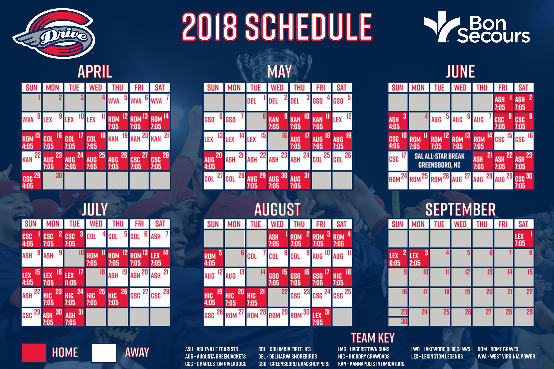 2017 Drive Downloadable Schedule   Greenville Drive Schedule