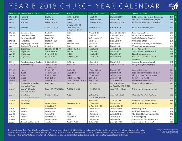 Church Year Calendar Year B 2018 | Augsburg Fortress Canada
