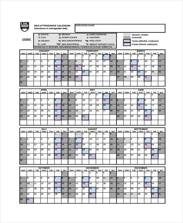 attendance calendars 2018 Passionative.co