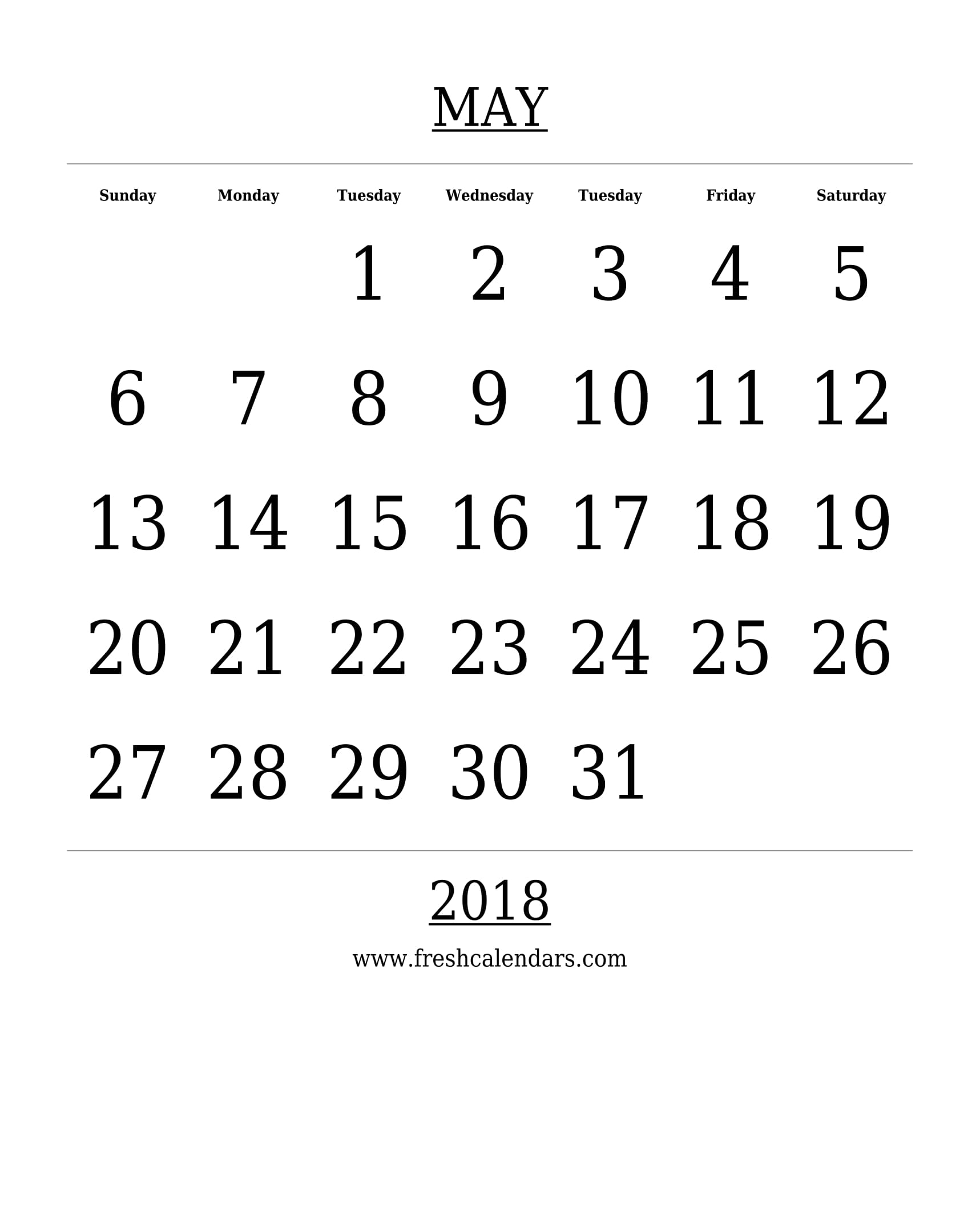 Free Printable Template May 2018 Calendar Bold Style