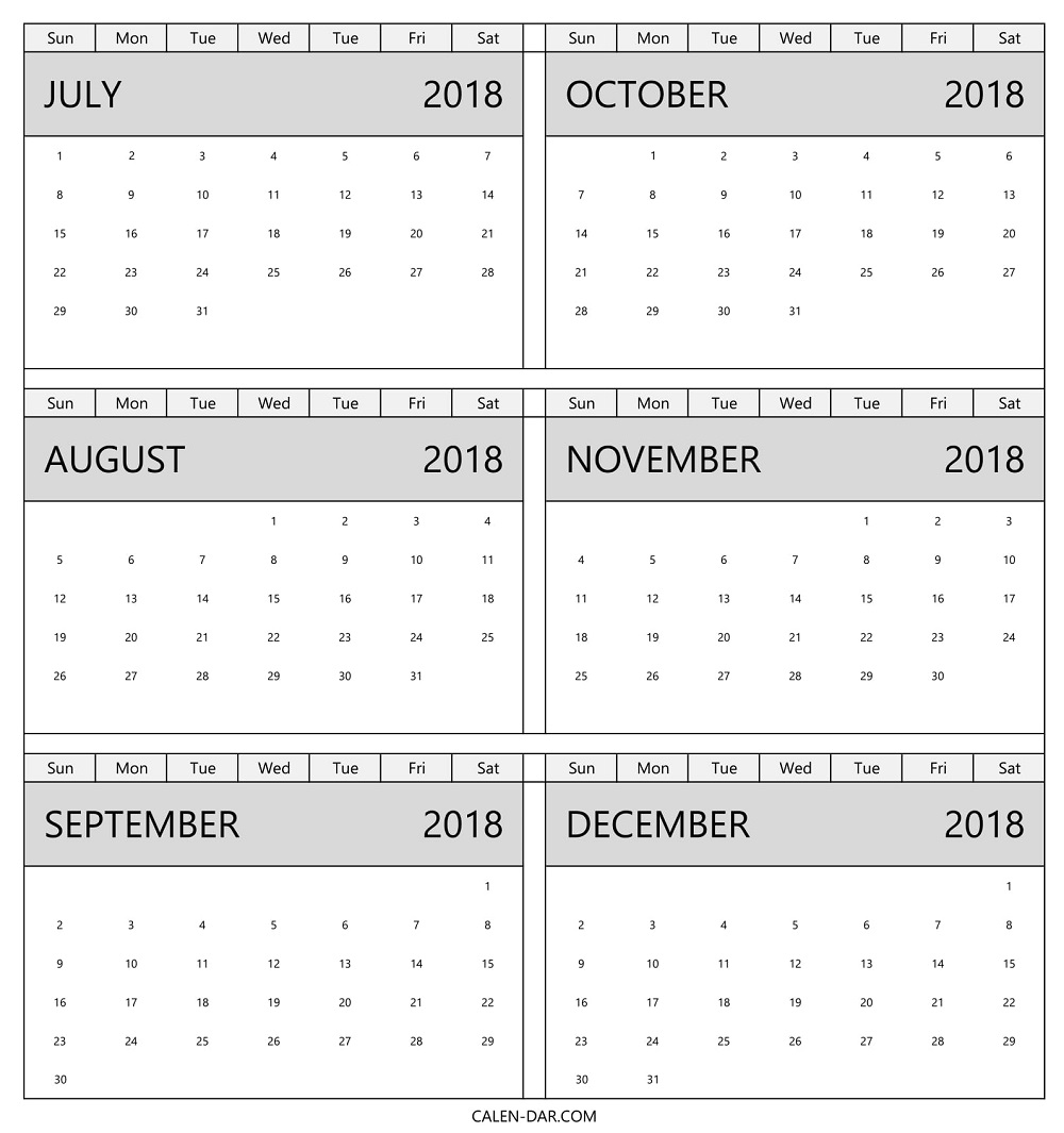 2018 Calendar July To December | Blank Six Month Template With Notes