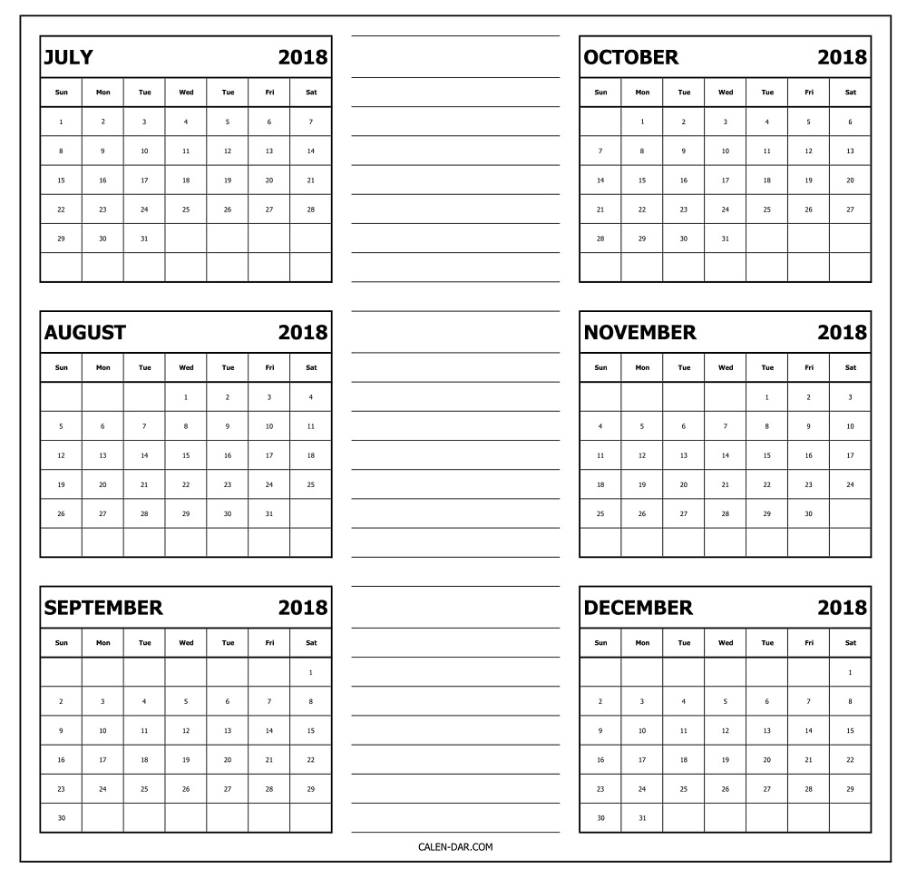 Blank Six Months July To December 2018 Calendar Template Printable