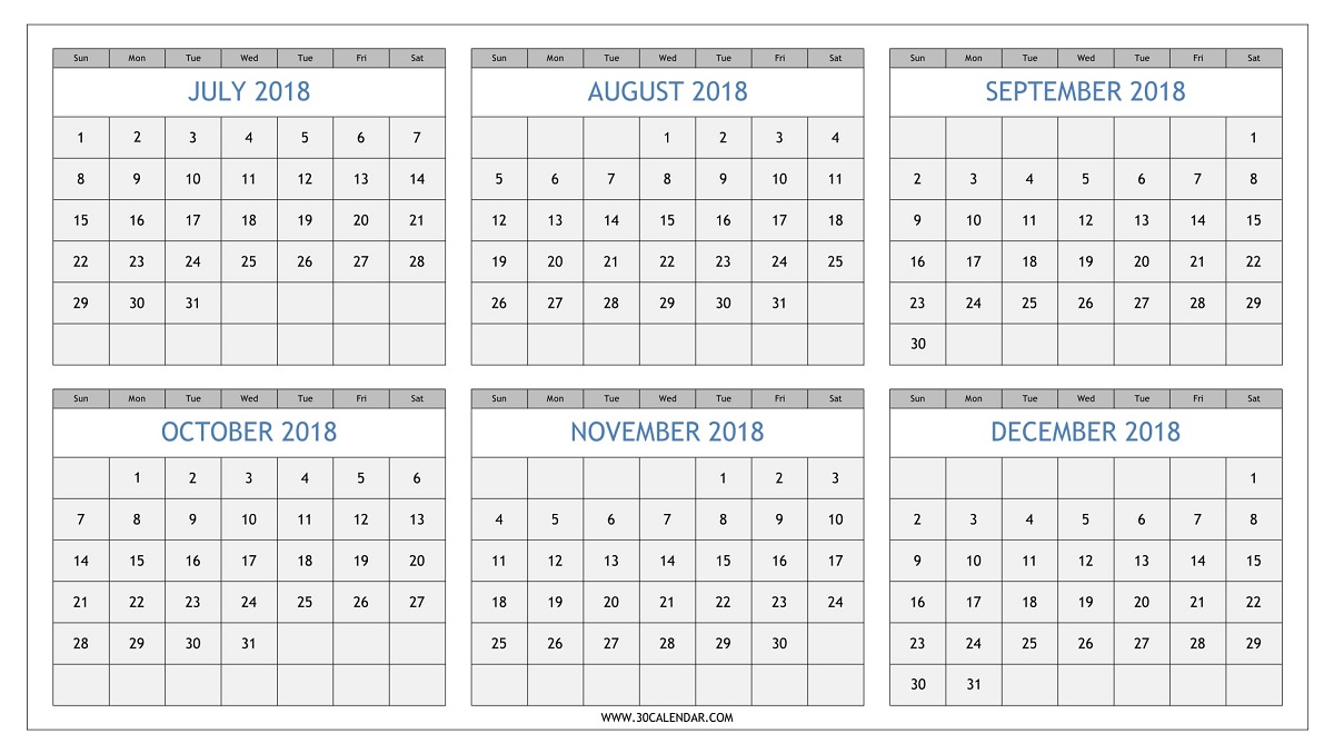 Half Year Calendar : July to december calendar printable half yearly