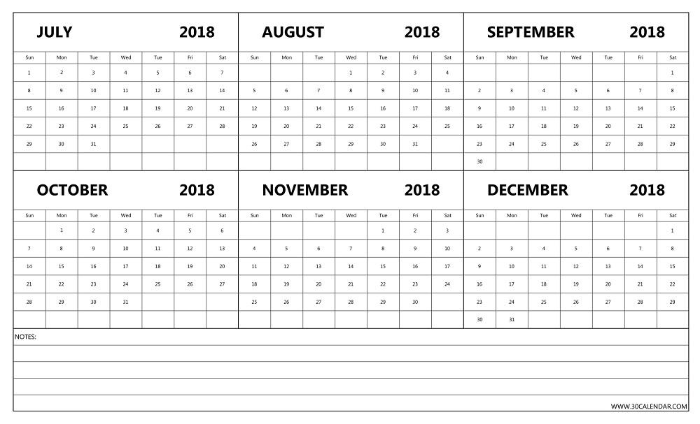 July Aug Sep Oct Nov Dec 2018 Calendar | 6 Months 2018 Template