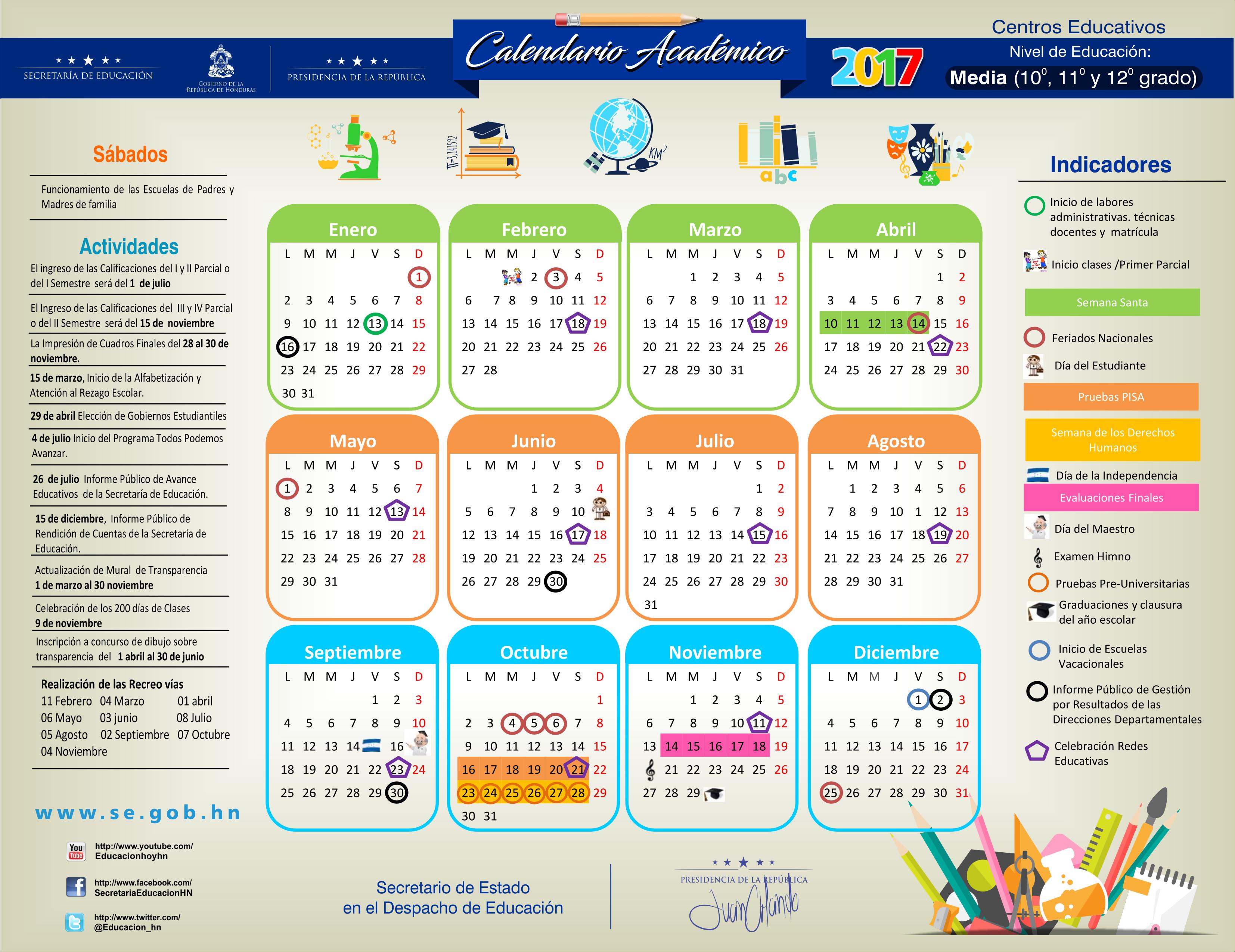 Secretaría de Educación oficializa el calendario escolar 2017