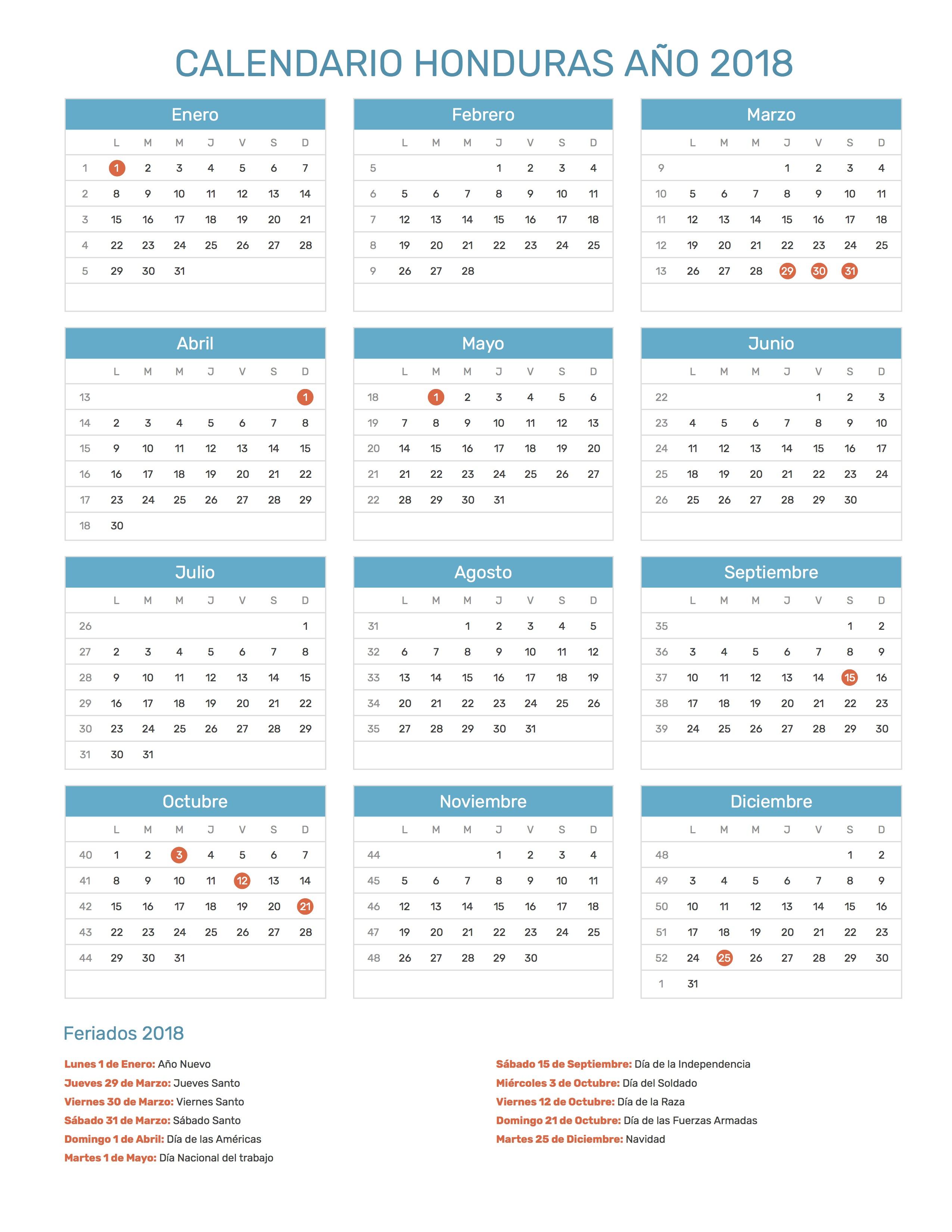 Calendario Honduras Año 2018 | Feriados