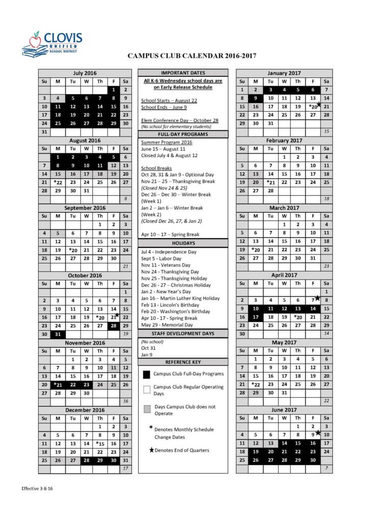 Clovis Unified School District Calendar 2016 2017 | Calendar