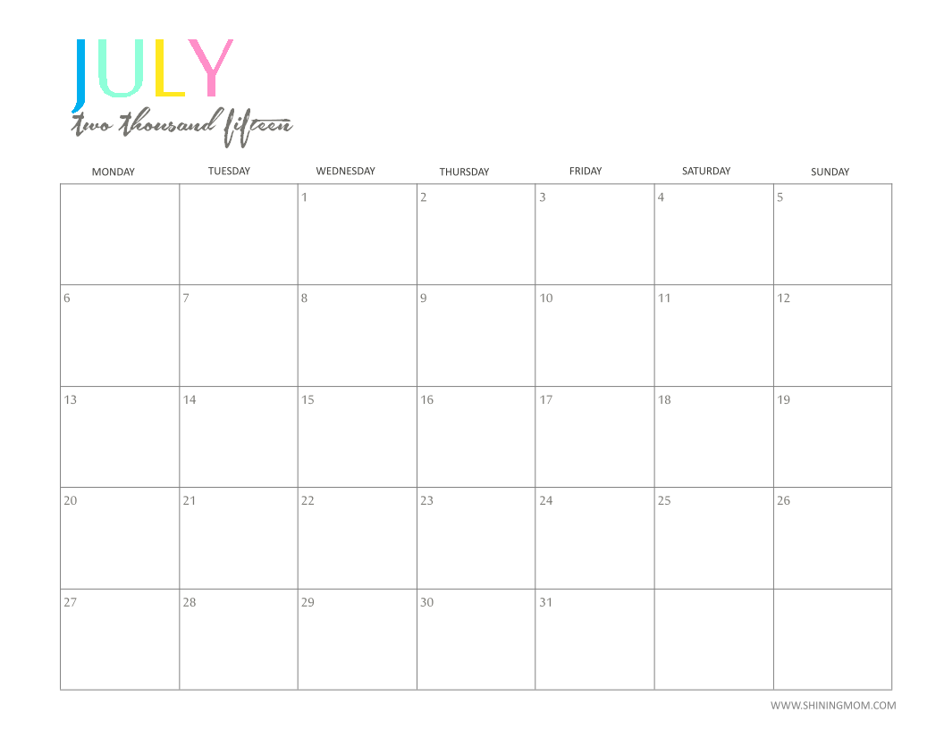 The Printable 2015 Monthly Calendar by ShiningMom.is Here