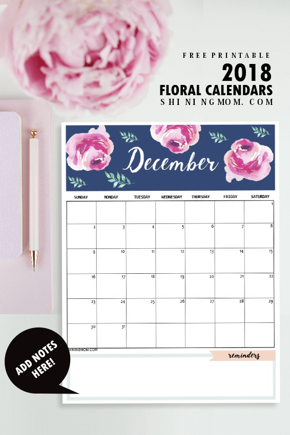 Free 2018 Printable Calendar That I Can Write In | Calendar