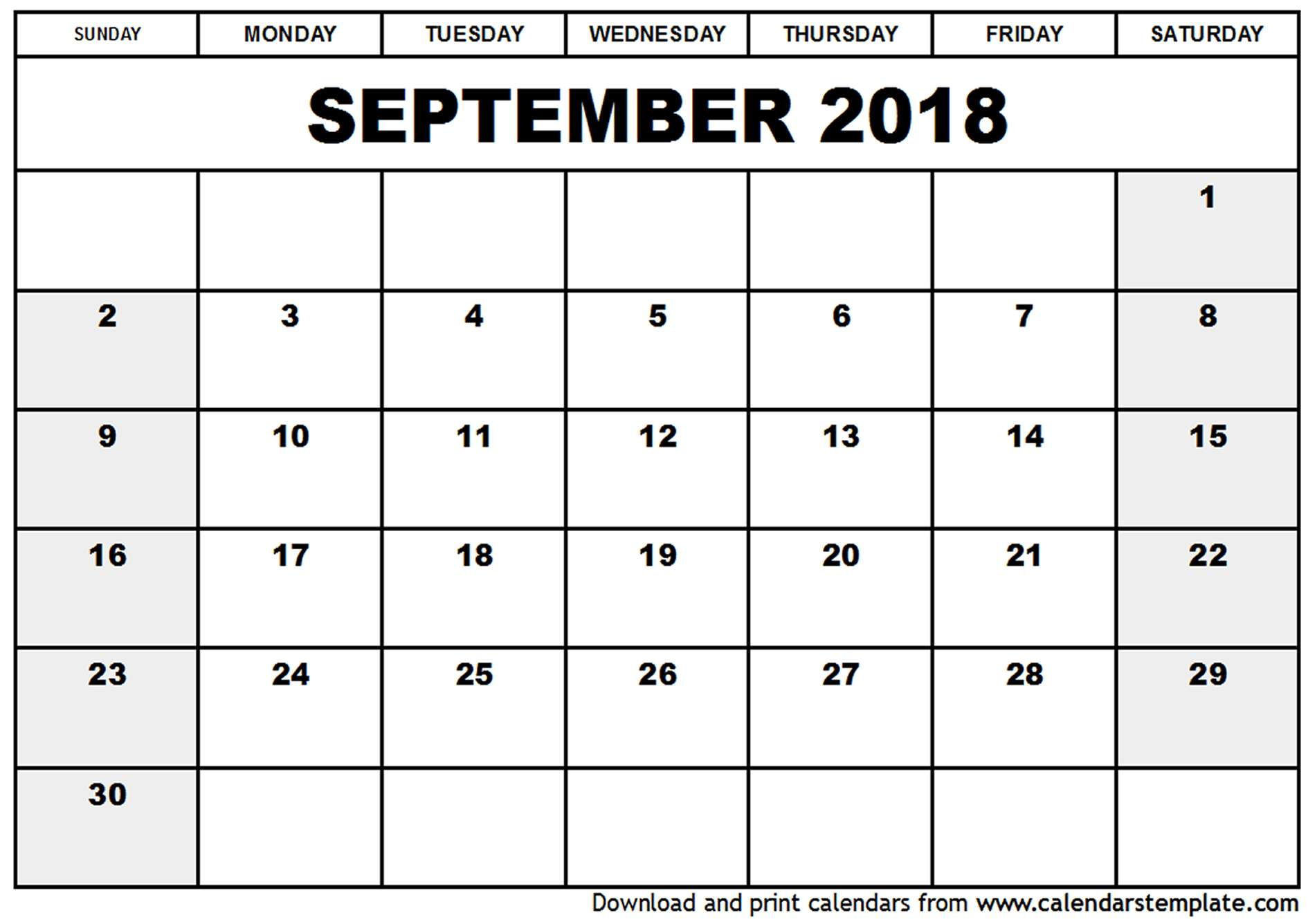 September 2018 Printable Calendar | 2018 calendar printable