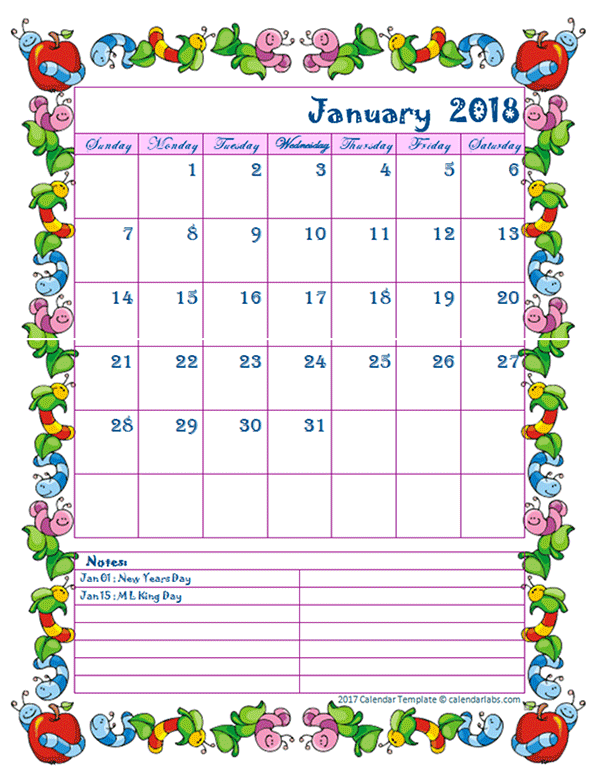 Calendar Template Kids 2018 Monthly Kid Kindergarten Calendar