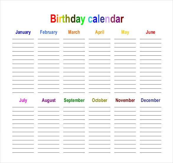 Birthday Calendar 43+ Calendar Template | Free & Premium Templates