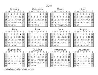 2018 one page yearly calendar with shaded weekends