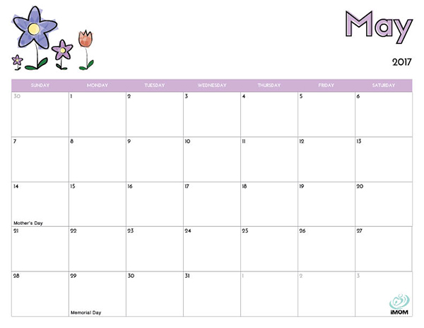 2017 Printable Calendar for Kids iMom