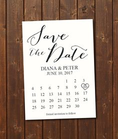 Save the Date Calendar Template/Save the Date Postcard Printable