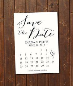 Save The Date Calendar Template/Save The Date Postcard Printable