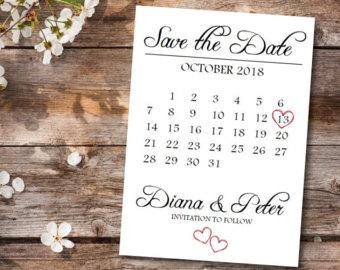 Cute Save the Date Calendar Template/Save the Date Postcard