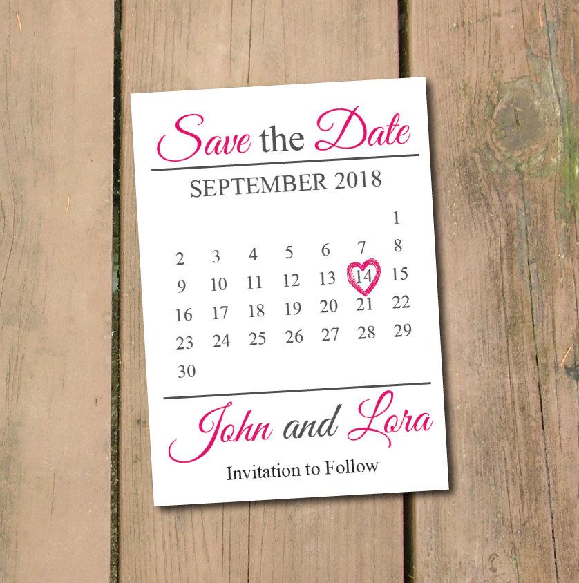 Save The Date Calendar Template Save The Date Calendar