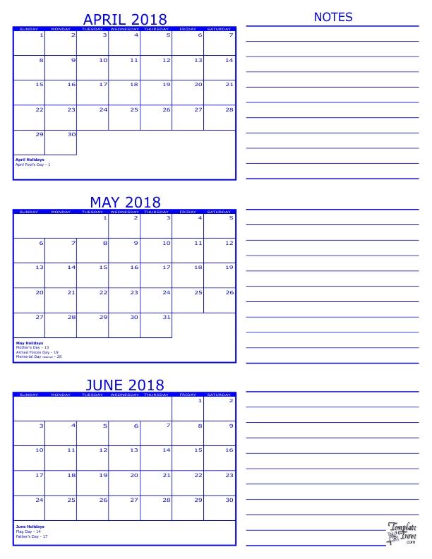 2018 Summer Printable Calendar 2018 | 2018 Calendar Template
