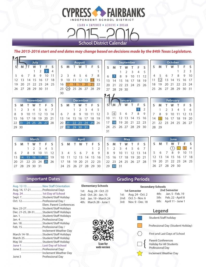 Cy Fair Isd 2015 2016 Calendar | Calendar Template 2018